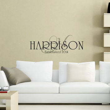 Family Name with Established Date and Monogram - Art Wall Decals Wall Stickers Vinyl Decal Quote Wall Decal