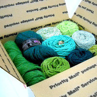 Box of Mystery Yarns, Knitting Supplies, Crochet Thread, Vintage Yarn, Pick a Color, Box of Yarn