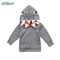 LONSANT New Sweatshirt Baby Boy Girl Clothes Cotton Long Sleeve Tops Toddler Baby Kids Boys Girls Shark Hooded Top Clothing