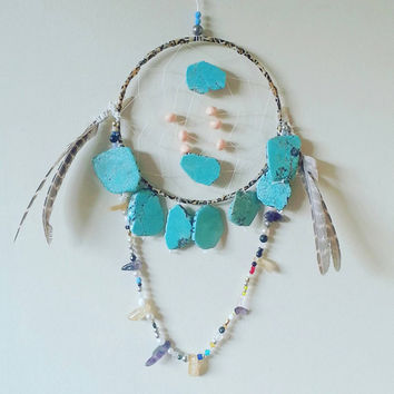 Dream Catcher, DreamCatcher, Turquoise, Wall Decor, Wall Accent, Bohemian decor, Boho Decor, Native, Home Decor, Hippie, Gypsy, Unique Gift