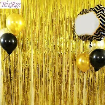 DCCKF4S FENGRISE 1x2 Meters Gold Foil Fringe Tinsel Curtain Tassel Garlands Wedding Photography Backdrop Birthday Party Decoration