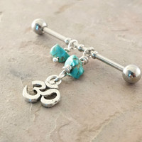 Ohm Om Industrial Barbell With Turquoise Upper Double Ear Piercing