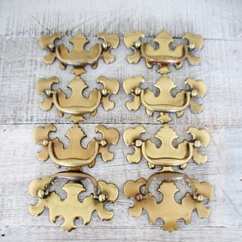 Drawer Handles 8 Chippendale Drawer Pulls  Antique Hardware Brass Handles Vintage Dresser Hardware Salvaged Hardware Vintage Drawer Pulls