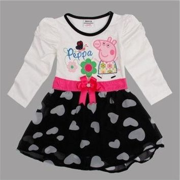 ac VLXC children peppa pig embroidery waistband baby girl dress [8833597580]