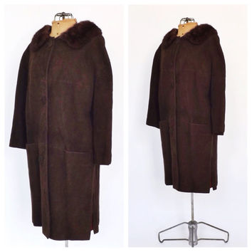Vintage 1950s 1960s Chocolate Brown Suede Leather Winter Coat Fur Collar Mad Men Style Outerwear Thin Winter Jacket Size Small Swing Coat