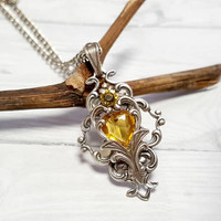 November Birthstone / Victorian Necklace /Topaz Glass pendant /Yellow Heart Pendant / Boho Pendant / Sterling chain