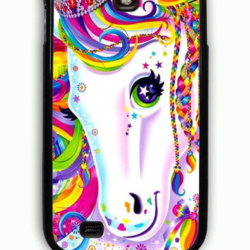 Samsung Galaxy S4 Case - Hard (PC) Cover with Lisa Frank Majesty The Rainbow Horse Plastic Case Design