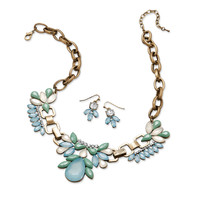 Blue Burnished Brass Finish Fashion Necklace and Earring Set