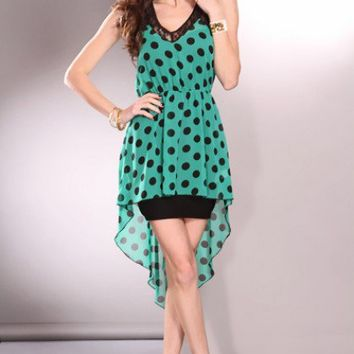Green Black High Low Hem Polka Dot Sleeveless Floral Trim Dress @ Amiclubwear sexy dresses,sexy dress,prom dress,summer dress,spring dress,prom gowns,teens dresses,sexy party wear,women's cocktail dresses,ball dresses,sun dresses,trendy dresses,sweater dr