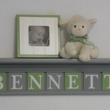 "Gray Baby Name Sign Nursery Decor 30"" Shelf with 8 Letter Wall Plaques Green and Grey - BENNETT"