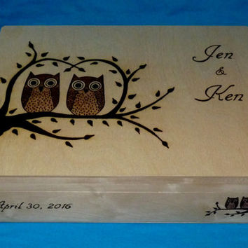Decorative Wooden Wedding Card Box Wood Burned Box Suitcase Wedding Tree Keepsake Guest Book Box Large Box Personalized Owl Love Birds Gift