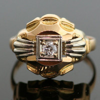 Vintage Diamond Ring - 18K Yellow and White Gold