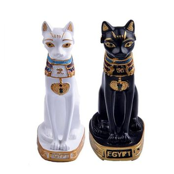 Vintage Mini Resin Egyptian Mau Egypt Cat Statue Hand Carved Collectible Figurines