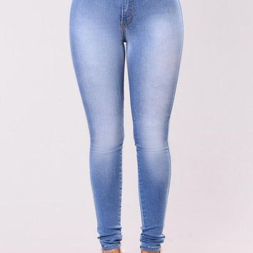 DCCKJN6 Classic High Waist Skinny Jeans - Light Blue