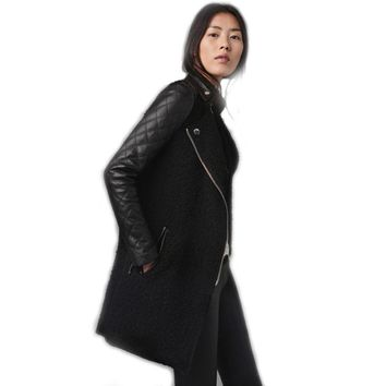 SexeMara Winter Coat Women Wool Long Jacket Black PU Leather Sleeve Patchwork Epaulet Wool & Blends Coat