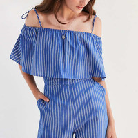Side Party Hera Ruffle Pinstripe Jumpsuit | Urban Outfitters