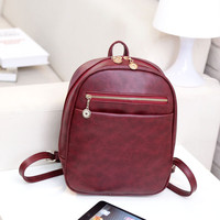 Fashion Mini Leather Backpack For Women Teenage Girl Student Backpack