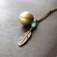 Tribal Ethnic Primitive Feather & Gold Ball Locket by MissBird