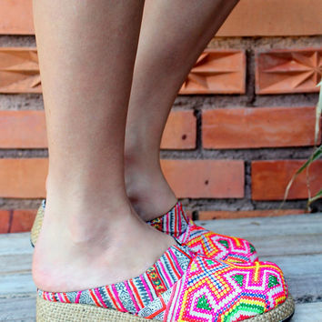 Rainbow Colored Womens Ethnic Hmong Embroidered Clogs, Vegan Shoes Bohemian Style