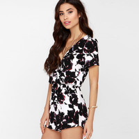 Rose Print Surplice V Neck Short Sleeve Romper