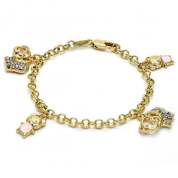 Gold Layered 03.63.1366.06 Charm Bracelet, Elephant and Teddy Bear Design, with White Crystal, Pink Enamel Finish, Golden Tone