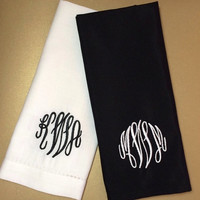 """Set of 4 Fancy Scroll Monogrammed Embroidered Cloth Napkins 20"""" / personalized gift / monogram /  personalized napkins / embroidered napkins"""
