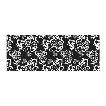 "Mydeas ""Sweetheart Damask Black & White"" Pattern Bed Runner"