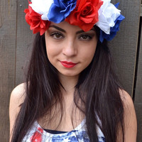 Large Patriotic Flower Headband #C1009