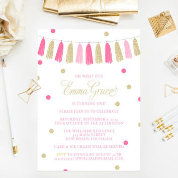 Pink & Gold Glitter Tassels Birthday Party Invitation Printable Gold Glitter Birthday Invitations