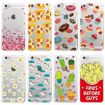 Cute Donuts Fries Before Guys Hearts Unicorn Pizza Soft Clear Phone Case For iPhone 7 7Plus 6 6S 6Plus 5 8 8Plus X SAMSUNG