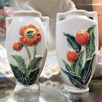 Occupied Japan Vases 1940s 40s Pair Vintage Japanese Cottage Home Decor Raised Relief Hand Painted Flower Floral Miniature Vases Figurine