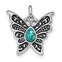 Sterling Silver Oxidized Recon. Turquoise Butterfly Pendant
