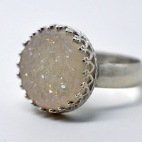 White Druzy Agate Ring, Handforged Sterling Silver Ring, Drusy Cocktail Ring, Iridescent Ring