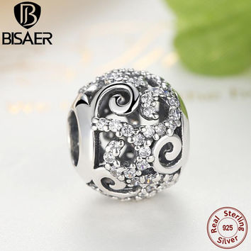 Gennuine 925 Sterling Silver Openwork Charm Beads with Clear CZ Fit Original Pandora Bracelet Bangle Authentic DIY Jewelry Gift