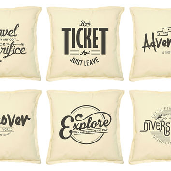 Vintage Travel Quote Printed Khaki Pillow Case VPLC_02 Size 18x18