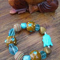 Glam Collection - One of a kind Turquoise Buddha Charm/Mixed Beaded Charms Hand Made