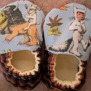 Where the wild things are Unisex baby shoes crib shoes slippers Handmade  Let the wild rumpus start  baby shower gift Maurice Sendak