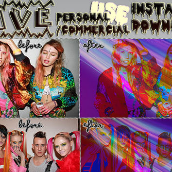 """Photoshop PSD Coloring File Instant Download Photo Effects Actions """"RAVE"""" Pastel Goth Glitch Black Light Neon Club Kid Cool Bright"""