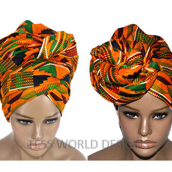 Orange Traditional Kente Print headwraps / African Head wraps/ African hair accessory/ African Fabric/ African Head scarf/ HT114