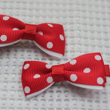 Red small hair clip / bow tuxedo hair bow / clip polka dot hair bow infant hair bow baby hair bow simple hair bow alligator hair bow