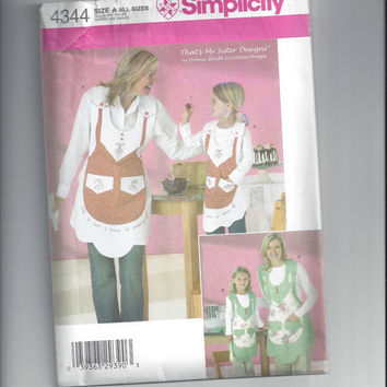 Simplicity 4344 Pattern for Child's & Misses' Designer Apron, That's My Sister Designs, 2005, All Sizes, ~~by Victorian Wardrobe