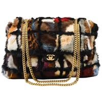 Chanel Multicolor Patchwork Mink Fur Flap Chain Strap Shoulder Bag