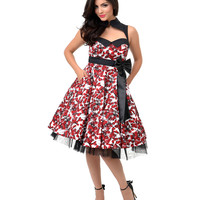 1950s Style Red & White Floral Viva Rockabilly Swing Dress