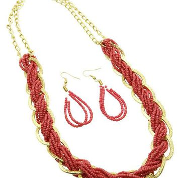 Coral Red Multi Strand Micro Bead Necklace And Earring Set