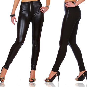 Women's Sexy Shiny Wet Look Full Length Leggings with Zipper M/L/XL/XXL/XXXL LY3 SM6