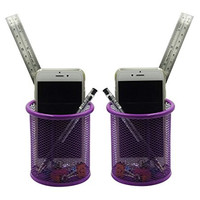 2PCS Round Steel Mesh Collection Pen Pencil Ruler Brush Pot Cup Desk Holder Container Organizer (purple)