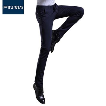 mens skinny pants luxury brand men straight trousers cotton long pant office business high quality designer black coveralls 430