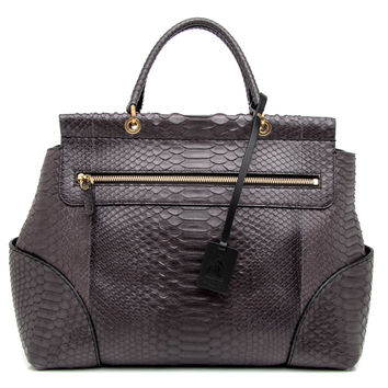 Lanvin Anthracite Tote Bag in Python
