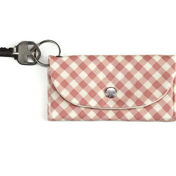 Pink Gingham Keychain Wallet, Credit Card Holder Key Ring, ID Keychain Wallet, Student ID Keychain Holder with Free Shipping