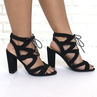 Mazie Lace Up Black Heels